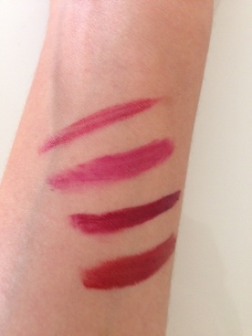 Mary Kay creme lipsticks (Apple Berry, Fuchsia, Merlot & Midnight Red)