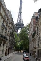 Eiffel Tower, as we walked the neighborhood.