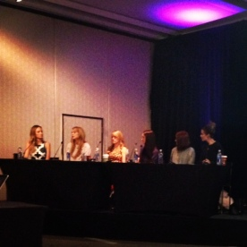 Host Catt Sadler with panelist: Leigh Ann (Vlogger), Rachel Robers (Neiman Marcus Willowbend), Raya Ramsey (Lifestyle Editor at D Mag), Amber Venz (founder of rewardStyle), and Courtney Kerr (TV personality)
