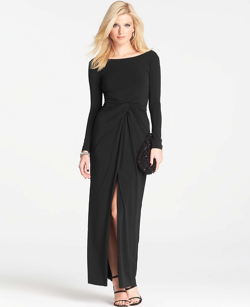 Long-sleeve black gown (AnnTaylor.com)