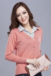 Pink Cardigan with Polka Dot Collar, $34.80
